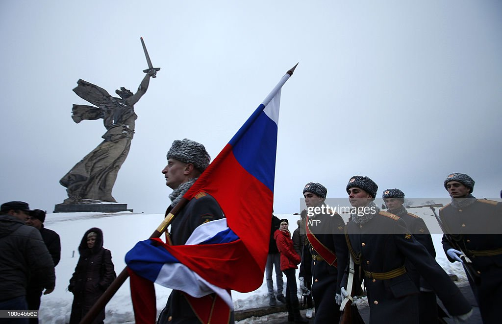 Russian soldiers march past the giant monument 'Rodina-Mat' zovyot!''( Mother Motherland Is Calling for Fight) also known as Mother Motherland statue, at the memorial built to honour those who died in the Battle of Stalingrad during the World War II, in the Russian city of Volgograd, on Febuary 2, 2013. Russia marked today the 70th anniversary of a brutal battle in which the Red Army defeated Nazi forces and changed the course of World War II.