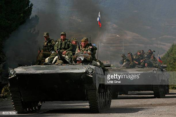 Russian soldiers ride armoured personnel carriers on August 16 2008 near Gori Georgia US Secretary of State Condoleezza Rice arrived in Tblisi...