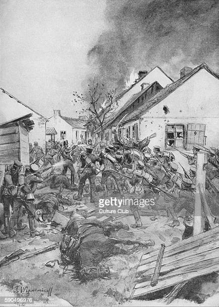 Russian soldiers storm the outskirts of Jaroslav / Jaroslaw Poland After the painting by M Vladimiroff