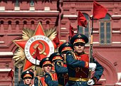 Russian soldiers take part in a rehearsal for the Victory Day military parade on May 7 2015 on Red Square in Moscow Russia will celebrate the 70th...
