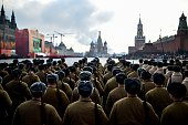 Russian soldiers wearing Red Army World War II uniforms take part in the military parade on the Red Square in Moscow on November 7 2015 Russia marked...