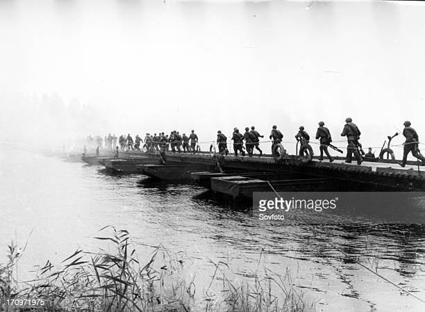 Russian soliders crossing the bug river crimea in march 1944