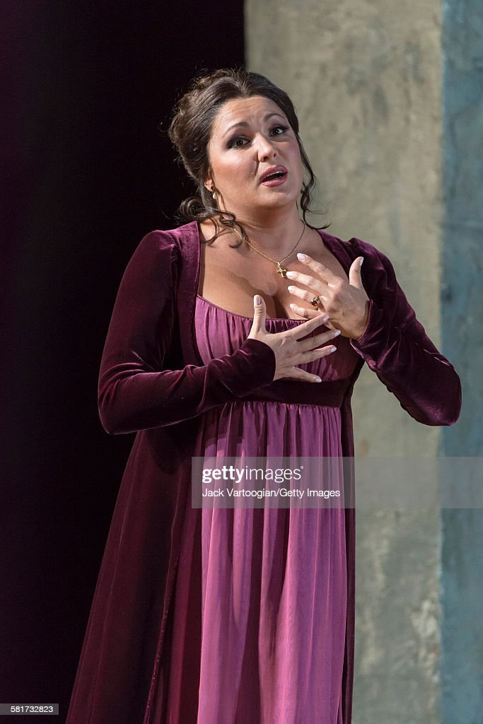 Russian soprano <a gi-track='captionPersonalityLinkClicked' href=/galleries/search?phrase=Anna+Netrebko&family=editorial&specificpeople=732328 ng-click='$event.stopPropagation()'>Anna Netrebko</a> performs (as 'Leonora') at the final dress rehearsal prior to the season premiere of the Metropolitan Opera/Sir David McVicar production of 'Il Trovatore' ('The Troubadour,' by Giuseppe Verdi) at the Metropolitan Opera House, Lincoln Center, New York, New York, September 22, 2015.