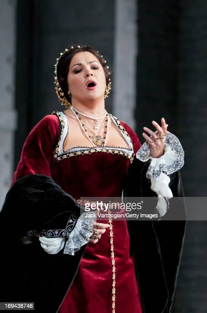 Russian soprano Anna Netrebko performs during the final dress rehersal in the David McVicar/Metropolitan Opera season premiere production of 'Anna...