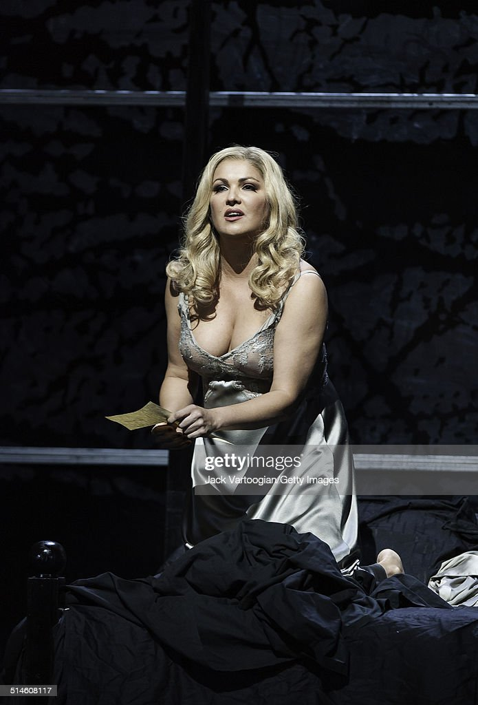 Russian soprano <a gi-track='captionPersonalityLinkClicked' href=/galleries/search?phrase=Anna+Netrebko&family=editorial&specificpeople=732328 ng-click='$event.stopPropagation()'>Anna Netrebko</a> (as 'Lady Macbeth') performs during the final dress rehearsal prior to the season premiere of the Metropolitan Opera/Adrian Noble production 'Macbeth' (by Giuseppe Verdi) at the Metropolitan Opera House, Lincoln Center, New York, New York, September 20, 2014.
