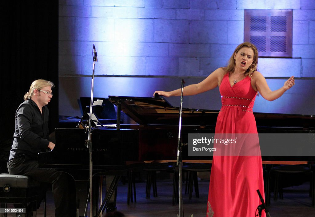 Russian soprano Anna Samuil performs with pianist Denis Kozhukhin during a recital at 16th Jerusalem International Chamber Music Festival in the...