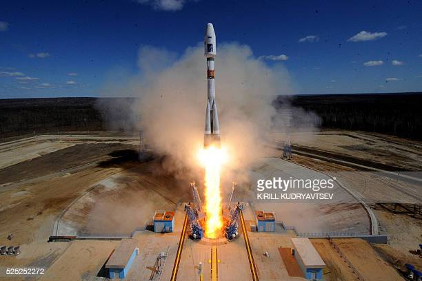 A Russian Soyuz 21a rocket carrying Lomonosov Aist2D and SamSat218 satellites lifts off from the launch pad at the new Vostochny cosmodrome outside...