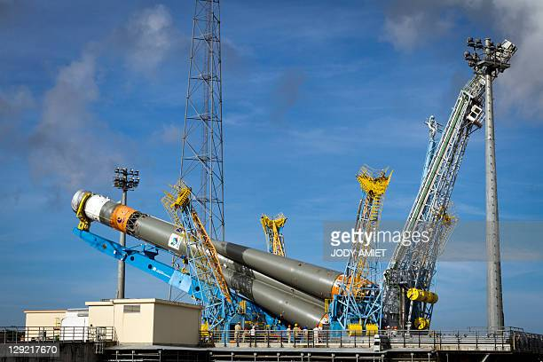 A Russian Soyuz rocket is set on Arianespace's launch pad on October 14 2011 at Europe's Spaceport launch site in Kourou French Guiana International...