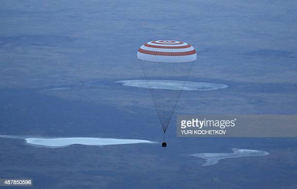 Russian Soyuz TMA16M space capsule carrying the Expedition 44 crew member Gennady Padalka of Roscosmos and visiting crew members Andreas Mogensen of...