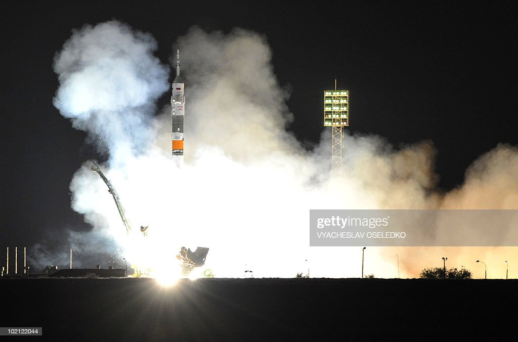 A Russian Soyuz TMA-19 rocket with US astronauts Doug Wheelock, Shannon Walker and Russian cosmonaut Fyodor Yurchikhin blasts off from Kazakhstan's Russian-leased Baikonur cosmodrome on June 16, 2010 on its way to the International Space Station (ISS). The mission is the last launch by a Soyuz rocket to the ISS before the US space shuttle program is mothballed later this year, leaving the burden of travel to the ISS entirely on Russian spacecraft.