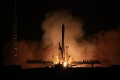 Russian Soyuz U rocket with cargo Progress M16M carrier blasts off from Russian leased Kazakh Baikonur cosmodrome early on August 2 2012 The rocket...