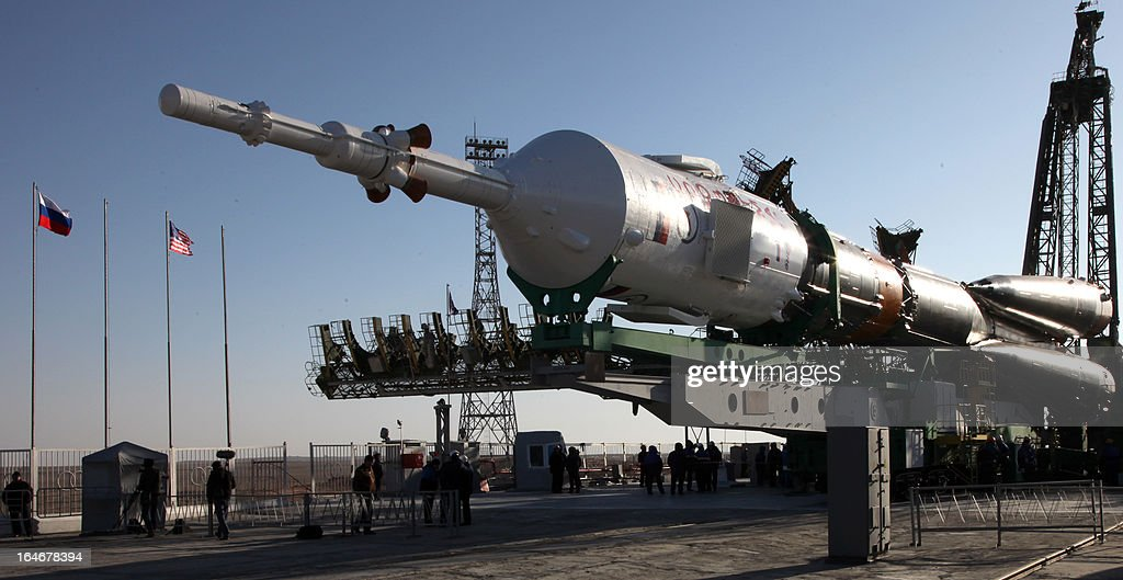 Russian Soyuz-FG rocket with Soyuz TMA-08M spacecraft aboard is mounted at a launch pad at the Russian leased Kazakh Baikonur cosmodrome, on March 26, 2013. Russian cosmonauts Pavel Vinogradov, Alexander Misurkin and US astronaut Christopher Cassidy are scheduled to blast off for the International Space Station (ISS) from the Baikonur cosmodrome on March 29. AFP PHOTO