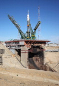 Russian SoyuzFG rocket with Soyuz TMA10M spacecraft aboard rises at a launch pad at the Russianleased Baikonur cosmodrome in Kazakhstan on September...