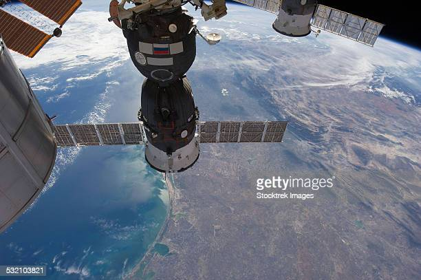 Russian spacecraft docked to the International Space Station.