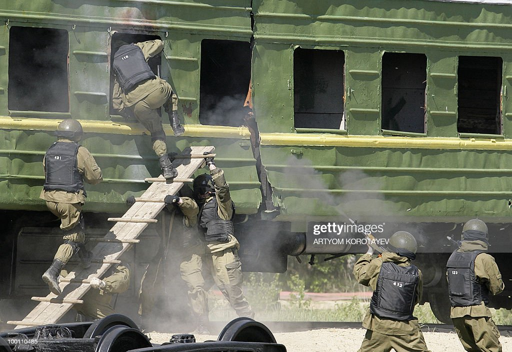 Russian special troops save a train from terrorists during a training exercise 60 km from Moscow in Noginsk on May 21, 2010. Various emergency and military special units held a day of training activities.