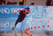 Russian speed skater Anna Savelyeva competes in the women's 1000m at MWave during the 1998 Winter Olympic games