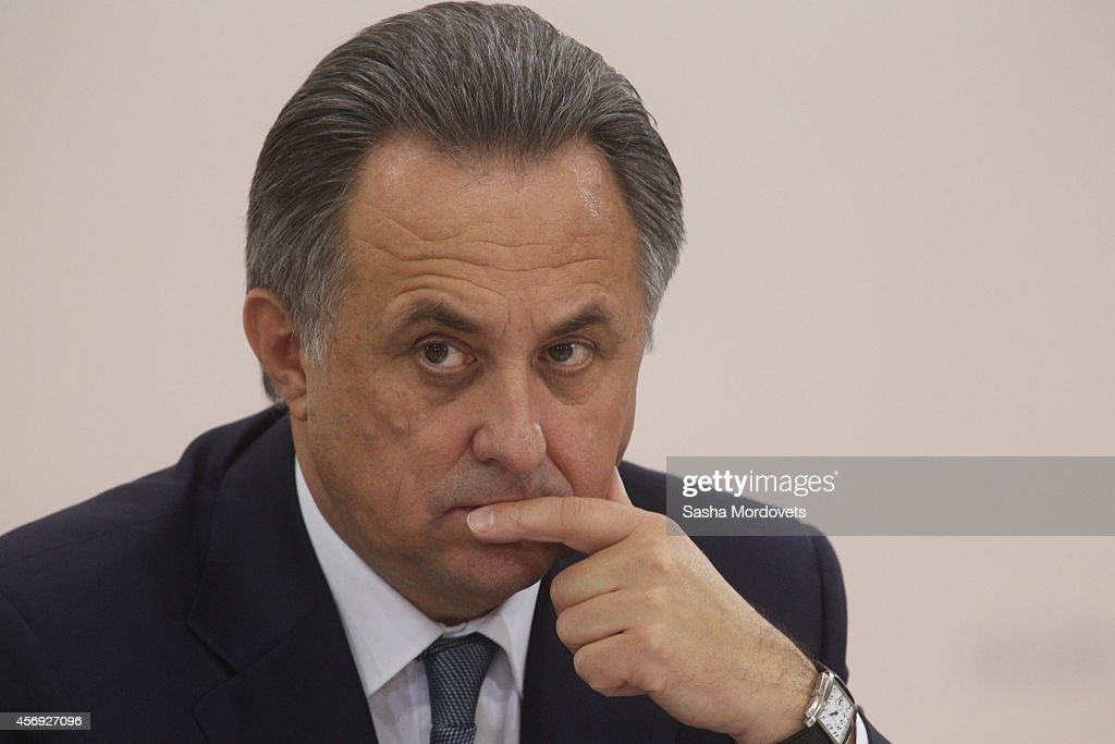 Russian Sport and Youth Policy Minister <a gi-track='captionPersonalityLinkClicked' href=/galleries/search?phrase=Vitaly+Mutko&family=editorial&specificpeople=687552 ng-click='$event.stopPropagation()'>Vitaly Mutko</a> attends a meeting with officials, ministers and governors about sport development October 9, 2014 in Cheboksary, Russia . Russian President Vladimir Putin os on a one-day visit to Cheboksary.