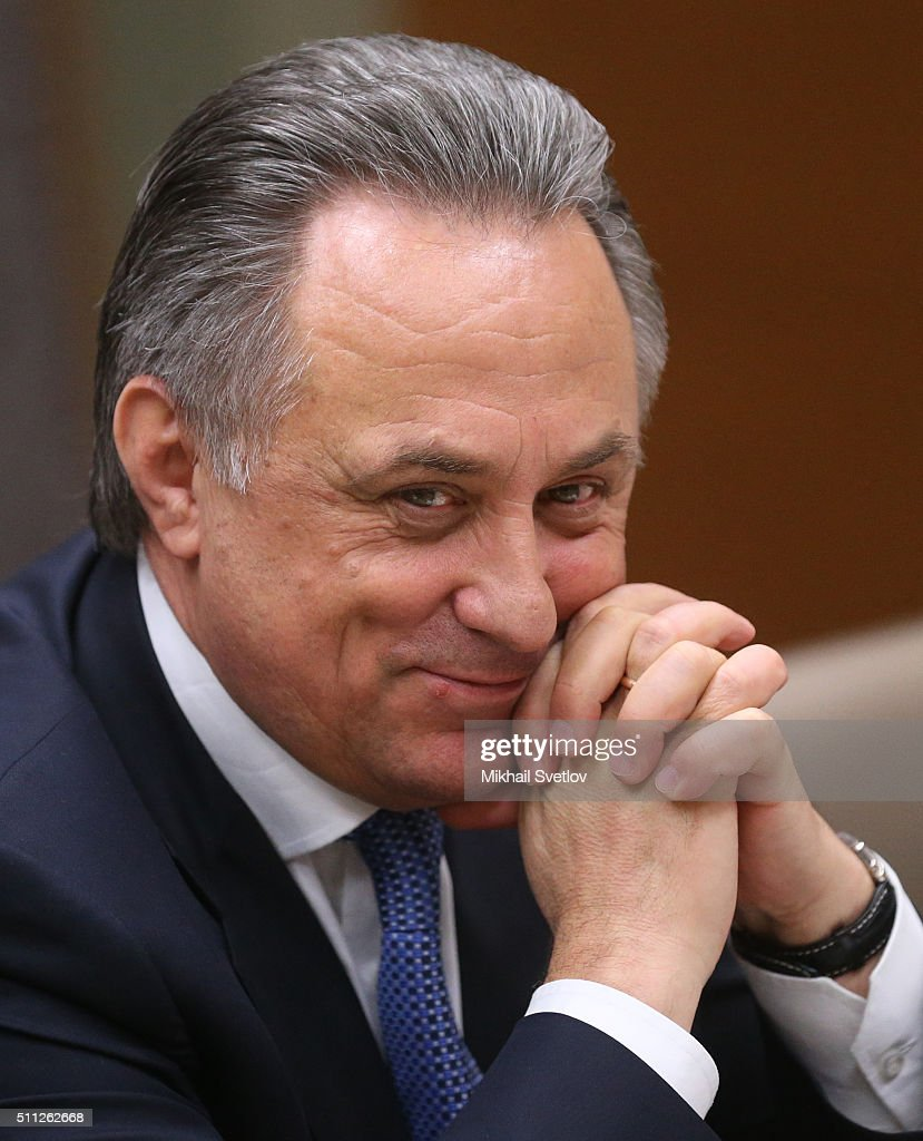 Russian Sport Minister <a gi-track='captionPersonalityLinkClicked' href=/galleries/search?phrase=Vitaly+Mutko&family=editorial&specificpeople=687552 ng-click='$event.stopPropagation()'>Vitaly Mutko</a> attends a meeting with members of the Russian national bandy team on at Novo-Ogaryovo State Residence on February 18, 2016 in Moscow, Russia.