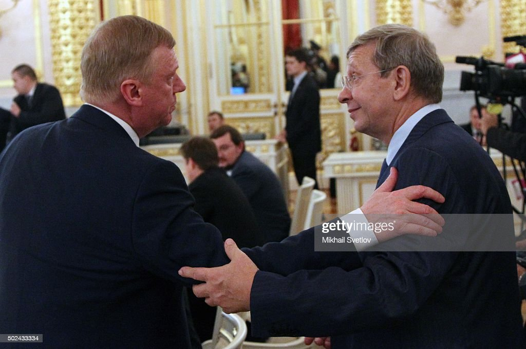 Russian State Corporation Rosnano's Head Anatoly Chubais (L) and billionare, Sistema major shareholder Vladimir Yevtushenkov (R) attend Russian-Indian talks meeting in Grand Kremlin Palace, in Moscow, Russia, December 24,2015. Narendra Modi is having a two-days state visit to Russia.