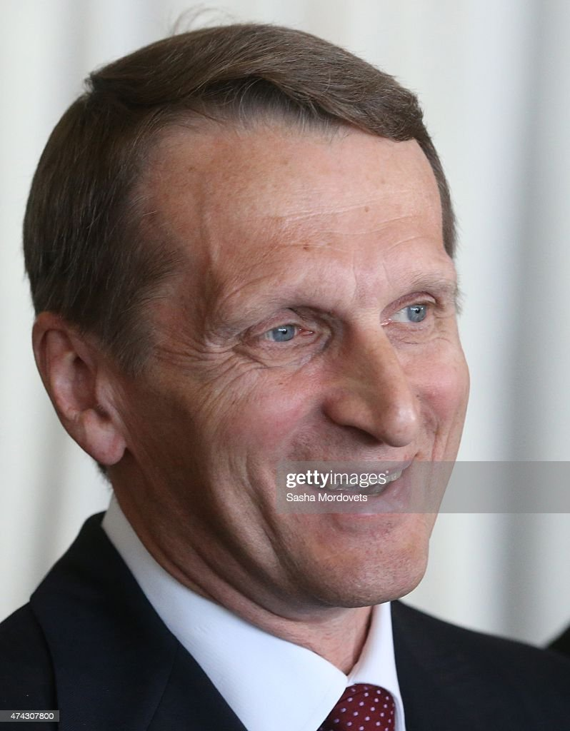 Russian State Duma Chairman <a gi-track='captionPersonalityLinkClicked' href=/galleries/search?phrase=Sergei+Naryshkin&family=editorial&specificpeople=2665931 ng-click='$event.stopPropagation()'>Sergei Naryshkin</a> speaks at a press conference in the Rappongi Hills business center May 21,2015 in Tokyo, Japan. Naryshkin, who is under U.S. and EU sanctions, is having a two-days visit in Japan.