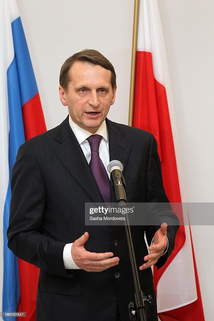 Russian State Duma parliament speaker Sergey Naryshkin attends a press conference on January 26, 2013 in Warszaw, Poland. Naryshkin is on a two-day visit to Poland.