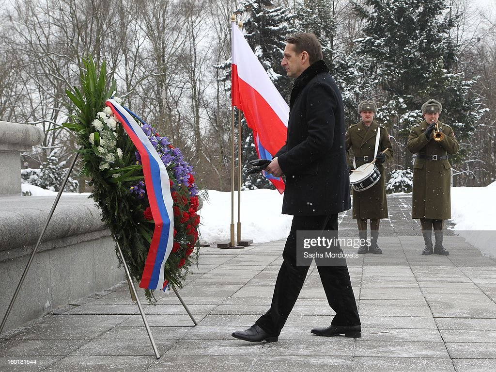 Russian State Duma parliament speaker Sergey Naryshkin attends a wreath laying ceremony on January 26, 2013 in Warszaw, Poland. Naryshkin is on a two-day visit to Poland.