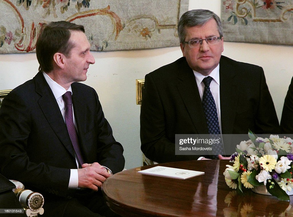 Russian State Duma parliament speaker Sergey Naryshkin (L) meets Poland's President <a gi-track='captionPersonalityLinkClicked' href=/galleries/search?phrase=Bronislaw+Komorowski&family=editorial&specificpeople=836872 ng-click='$event.stopPropagation()'>Bronislaw Komorowski</a> during a press conference on January 26, 2013 in Warszaw, Poland. Naryshkin is on a two-day visit to Poland.
