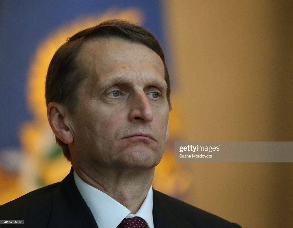 Russian State Duma Speaker <a gi-track='captionPersonalityLinkClicked' href=/galleries/search?phrase=Sergei+Naryshkin&family=editorial&specificpeople=2665931 ng-click='$event.stopPropagation()'>Sergei Naryshkin</a> attends an annual meeting with top prosecutors in the office of Prosecutor General of Russia March 24, 2015in Moscow, Russia. Putin reportedly sent condolences to Angela Merkel and King Felipe over plane crash in French Alps on Tuesday.