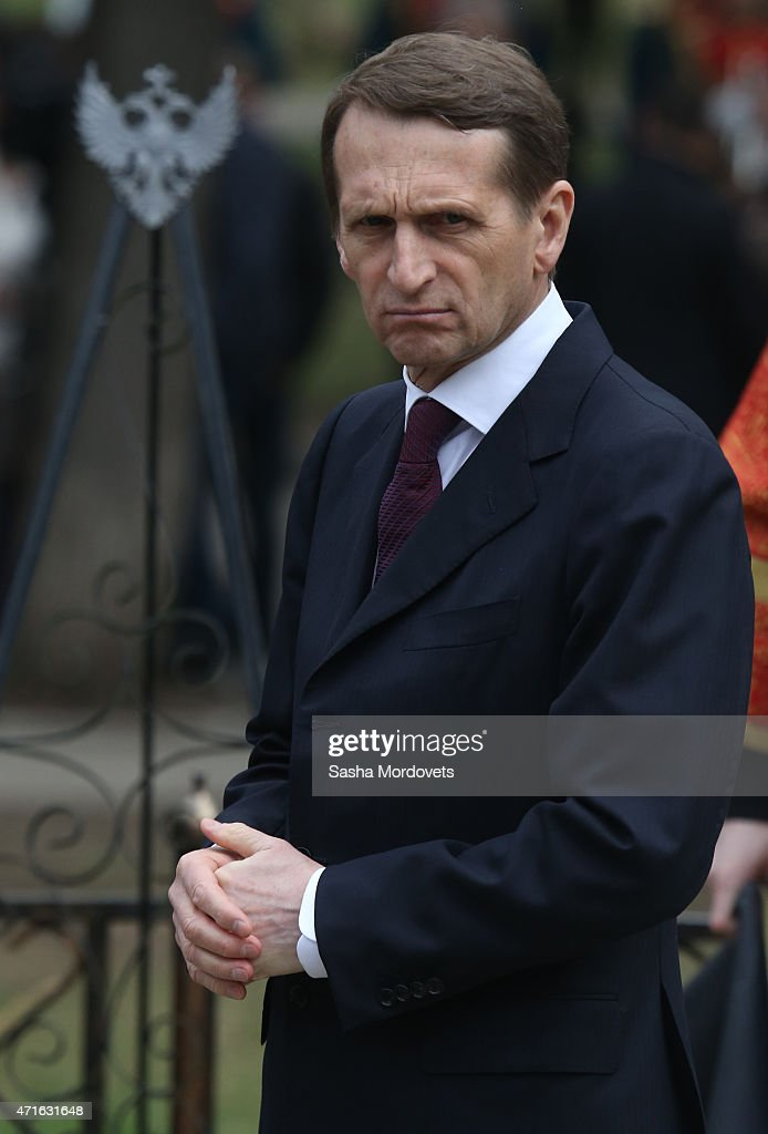 Russian State Duma Speaker <a gi-track='captionPersonalityLinkClicked' href=/galleries/search?phrase=Sergei+Naryshkin&family=editorial&specificpeople=2665931 ng-click='$event.stopPropagation()'>Sergei Naryshkin</a> attends the funeral of Grand Duke Nikolay Nikolayevich Romanov on April 30, 2015 near Moscow, Russia. Grand Duke Nikolay Nikolayevich Romanov was a grandson of Nicholas I of Russia. Nicholas I of Russia was commander in chief of the Russian armies on the main front in the first year of the World War I an later a successful commander in the Caucasus and died in 1929 in France.