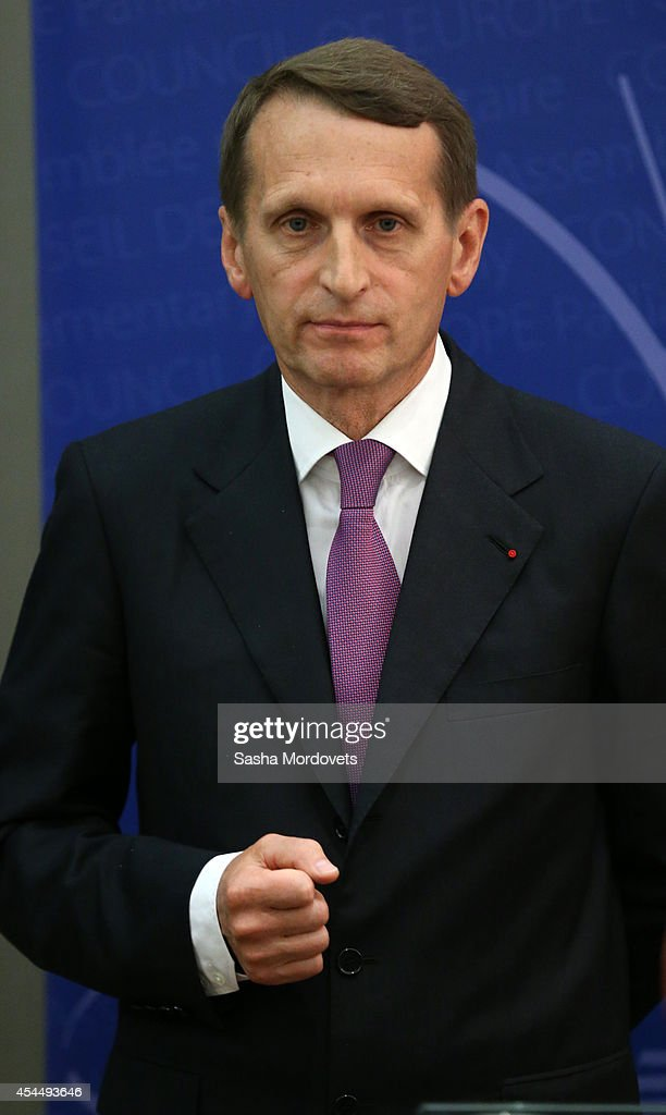 Russian State Duma Speaker <a gi-track='captionPersonalityLinkClicked' href=/galleries/search?phrase=Sergei+Naryshkin&family=editorial&specificpeople=2665931 ng-click='$event.stopPropagation()'>Sergei Naryshkin</a>,who is under U.S. and EU sanctions, attends a joint press conference during a two-day visit to France on September 2, 2014 in Paris, France.