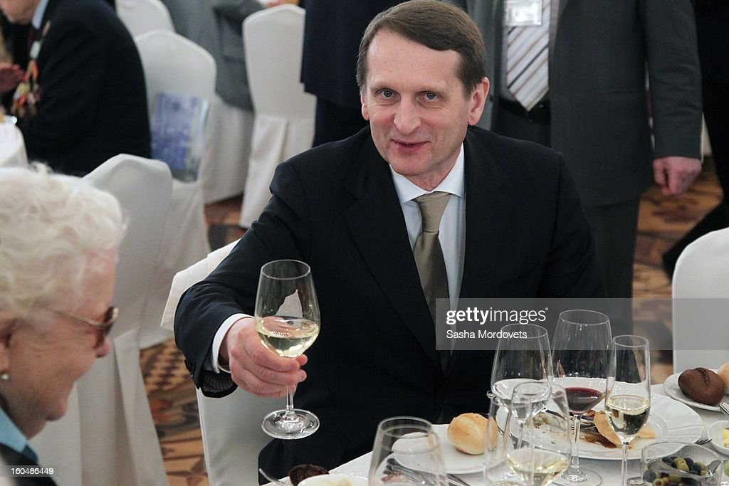 Russian State Duma Speaker Sergey Naryshkin drinks wine during a meeting with veterans of the Battle of Stalingrad, in the Grand Kremlin Palace February,1,2013 in Moscow, Russia. The meeting comes ahead of Putin's visit to Stalingrad tomorrow for a military parade commemorating the battle that proved pivotal in World War II.