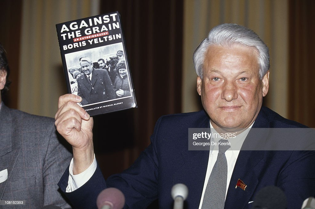 Russian statesman <a gi-track='captionPersonalityLinkClicked' href=/galleries/search?phrase=Boris+Yeltsin&family=editorial&specificpeople=93169 ng-click='$event.stopPropagation()'>Boris Yeltsin</a> (1931 - 2007) in London to promote the English language edition of his autobiography 'Against The Grain', 27th April 1990.