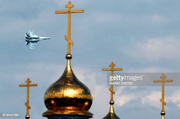 Russian SU27 fighter performs during an exhibition flight at the annual air show MAKS 2017 in Zhukovsky some 40kms outside Moscow on July 20 2017 /...
