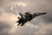 Russian Su30 fighter jet performs during the MAKS 2009 international aerospace show outside Moscow in Zhukovsky on August 20 2009 The MAKS...