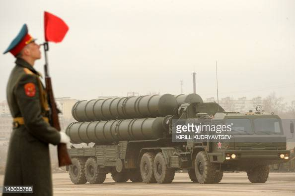 A Russian surfacetoair missile system S300 PMU2 Favorit rolls during a rehearsal of the Victory Day Parade in Alabino outside Moscow on April 18 2012...