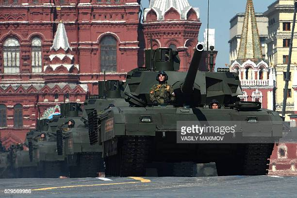 Russian T14 Armata tanks roll along Red Square during the Victory Day military parade in Moscow on May 9 2016 Russia marks the 71st anniversary of...