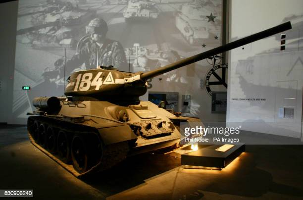 A Russian tank stands in front of an audiovisual display inside the Imperial War Museum North in Manchester The museum is the first building in the...