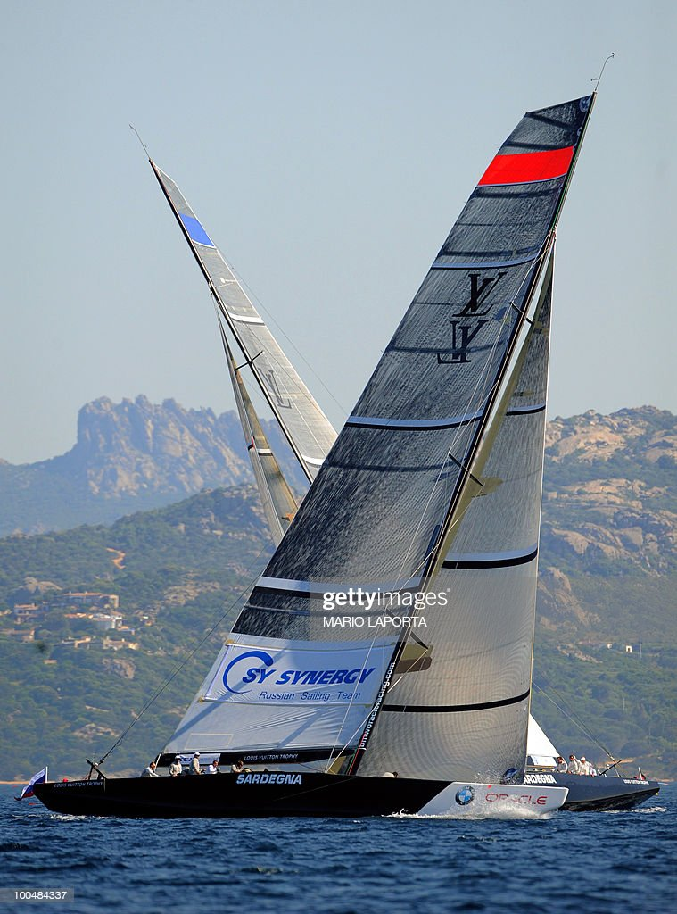 Russian Team Synergy Sailing Team (foreground) challenges with French Team All4One during their a match race regatta of the Louis Vuitton Trophy on May 24, 2010 at La Maddalena island in Sardinia. 10 teams battle it out over a two-week regatta begun on May 22 until June 6, 2010.