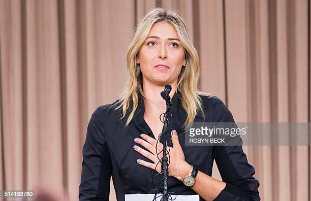 TOPSHOT Russian tennis player Maria Sharapova speaks at a press conference in downtown Los Angeles California March 7 2016 The former world number...