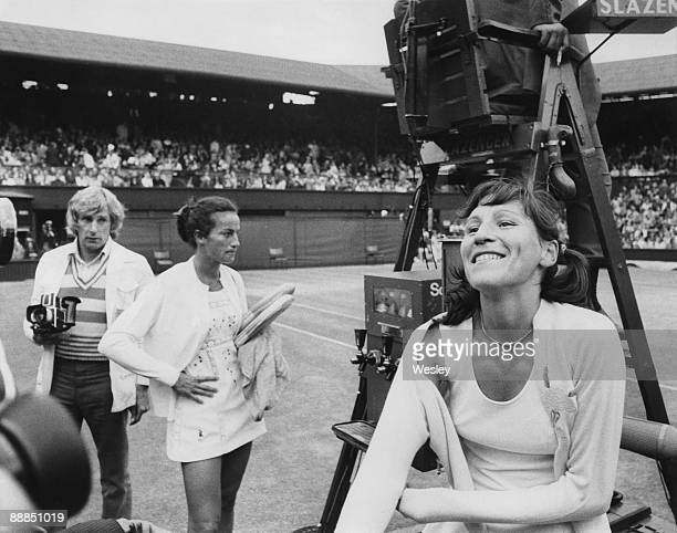Russian tennis player Olga Morozova beats England's Virginia Wade in the semifinal of the Women's Singles at Wimbledon 4th July 1974