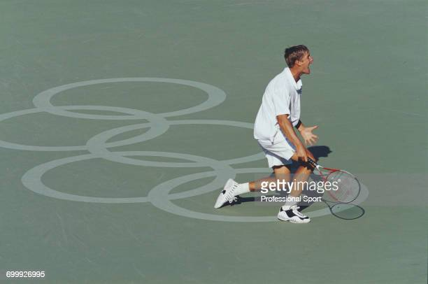Russian tennis player Yevgeny Kafelnikov pictured during action to win the gold medal for Russia in the Men's singles tennis tournament at the 2000...