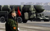 Russian TopolM intercontinental ballistic missile is displayed during a Victory Day parade rehearsal on April 24 2009 in Alabino outside Moscow...