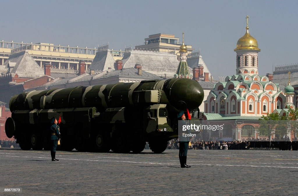 Russian Topol-M intercontinental ballistic missiles drive during the nation's Victory Day parade in commemoration of the end of WWII held at the Red Square on May 9, 2009 in Moscow, Russia. The ceremony commemorates Victory Day of May 9, 1945 on which the World War II Allies' achieved victory over and unconditional surrender of Nazi Germany's armed forces.