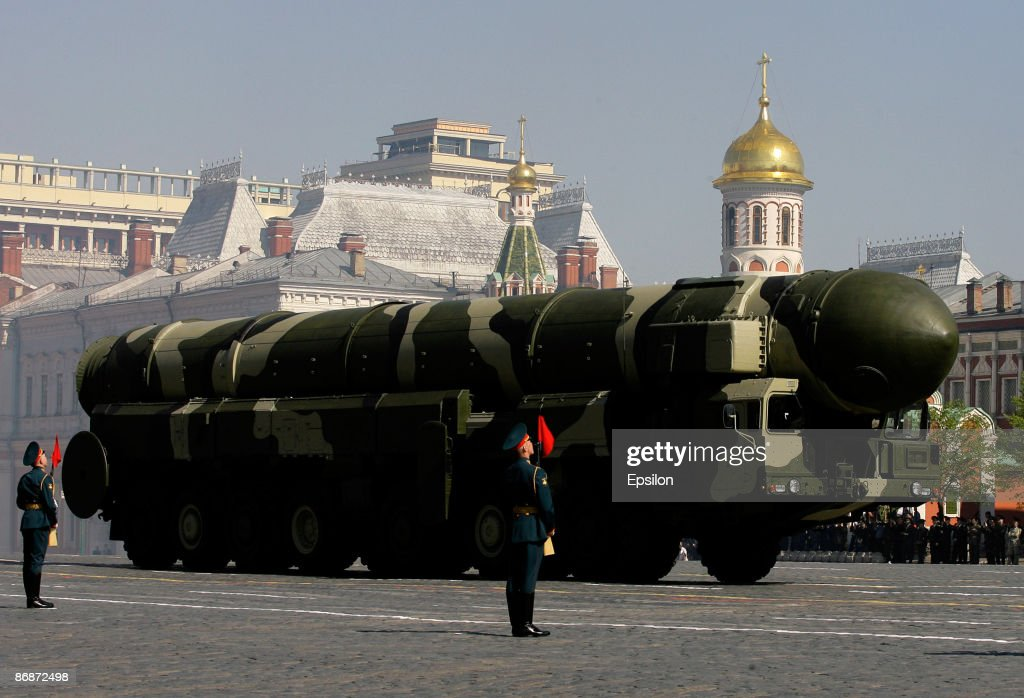 A Russian Topol-M intercontinental ballistic missiles drives during the nation's Victory Day parade in commemoration of the end of WWII held at the Red Square on May 9, 2009 in Moscow, Russia. The ceremony commemorates Victory Day of May 9, 1945 on which the World War II Allies' achieved victory over and unconditional surrender of Nazi Germany's armed forces.