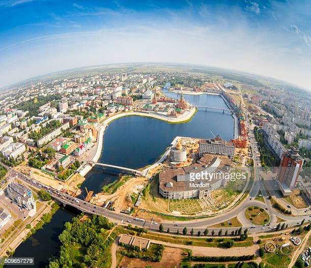 Russian town on summer morning
