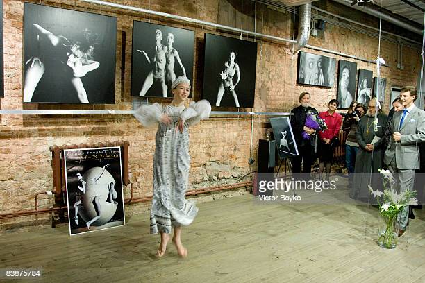 Russian traditional dancer performs at the opening of the John R Johnsen's photo exhibition 'Body in Conquered Space' at Centre for Contemporary Art...