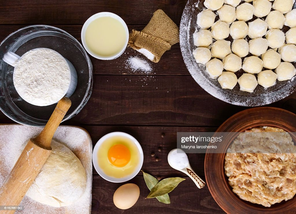 Russian traditional dish - pelmeni : Stock Photo