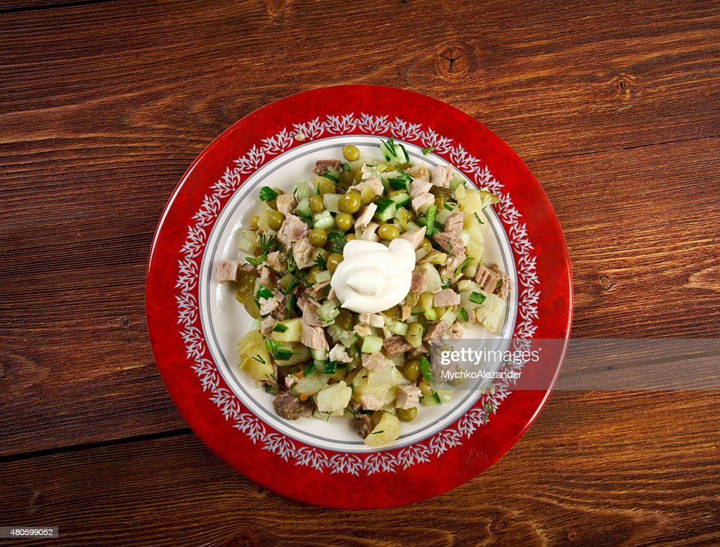 Russian traditional salad olivier : Stock Photo