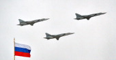 Russian Tupolev Tu22M supersonic strategic bombers fly above the Kremlin in Moscow on May 7 during a rehearsal of the Victory Day parade Russia...