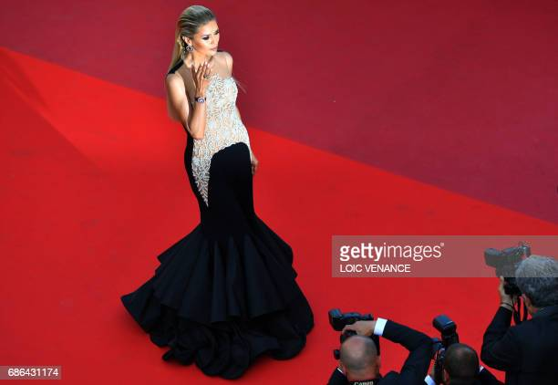 Russian TV presenter and model Victoria Bonya poses as she arrives on May 21 2017 for the screening of the film 'The Meyerowitz Stories ' at the 70th...